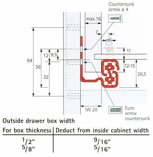 1067494 Left Front Catch For Quadro Iw20 Drawer Slides
