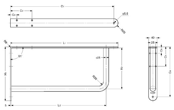 Sugatsune BY-300 STAINLESS STEEL BRACKET Line Drawing