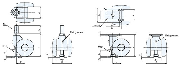CABF-50/WHT Parts Separable Caster with Glide schematic