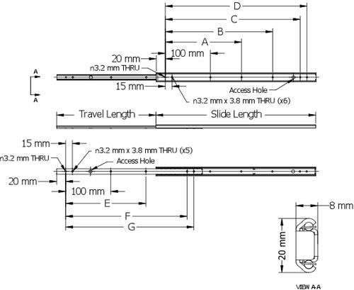 Esr 2021 500 S S Drawer Slide Alema Hardware