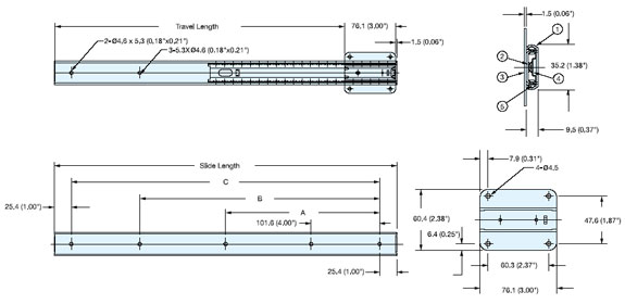 Sugatsune ESR-9-14 STAINLESS STEEL LINEAR BALL SLIDE Line Drawing