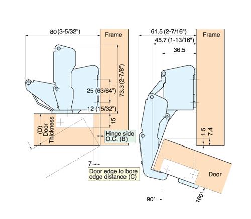 H160 C34 0 Concealed Hinge Alema Hardware