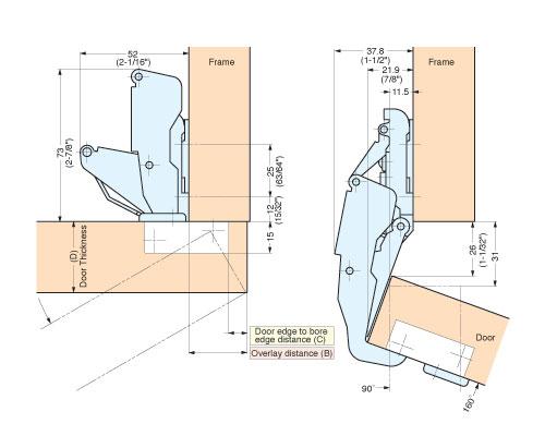 H160 C34 28 Concealed Hinge Alema Hardware