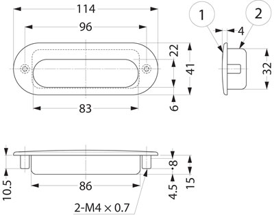 Sugatsune HH-DS Stainless Steel Recessed Pull Line Drawing