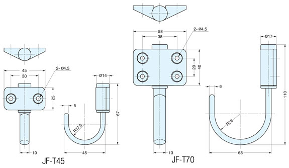 JF-T45/ Stainless Steel Friction Swing Hook schematic