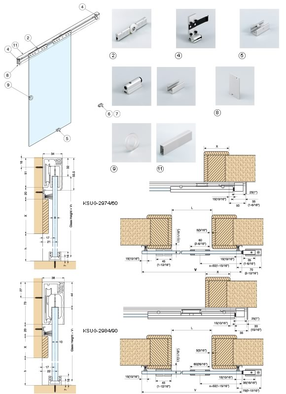 Ksug 2984 90 sliding glass door system alema hardware for Kitchen wall cabinets sliding glass doors