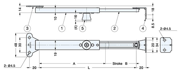 LSP-195B Lid Stay with Lock schematic