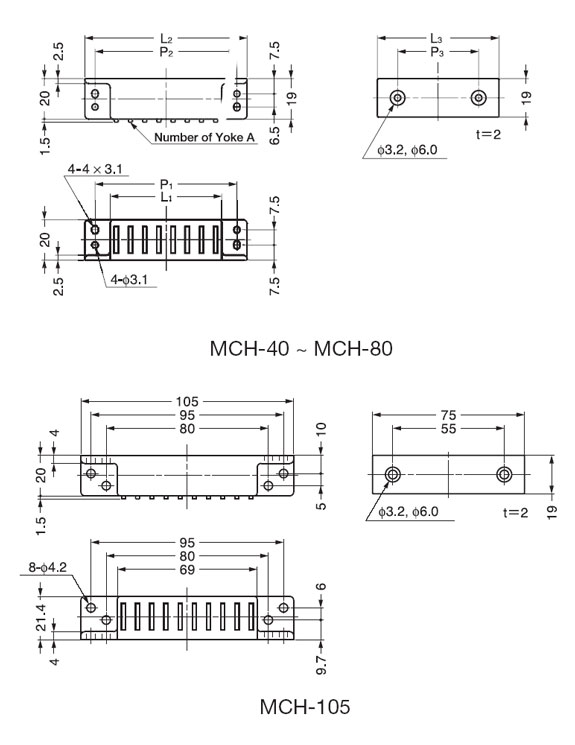 Sugatsune MCH-105 HEAVY DUTY MAGNETIC CATCH Line Drawing