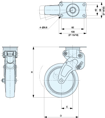 NPG-100SUES3 SHOCK ABSORBING CASTER (PLATE TYPE) schematic