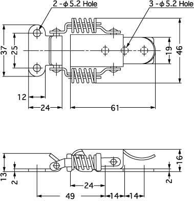 Sugatsune SCC-60/SS SPRING LOADED DRAW LATCH Line Drawing