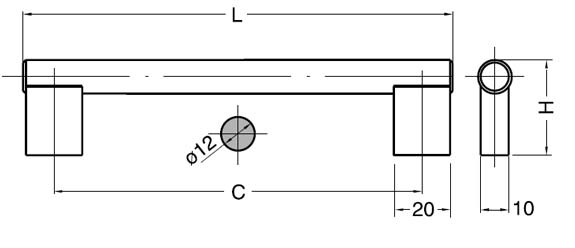 1654 STAINLESS STEEL HANDLE CC=392 L=414 schematic