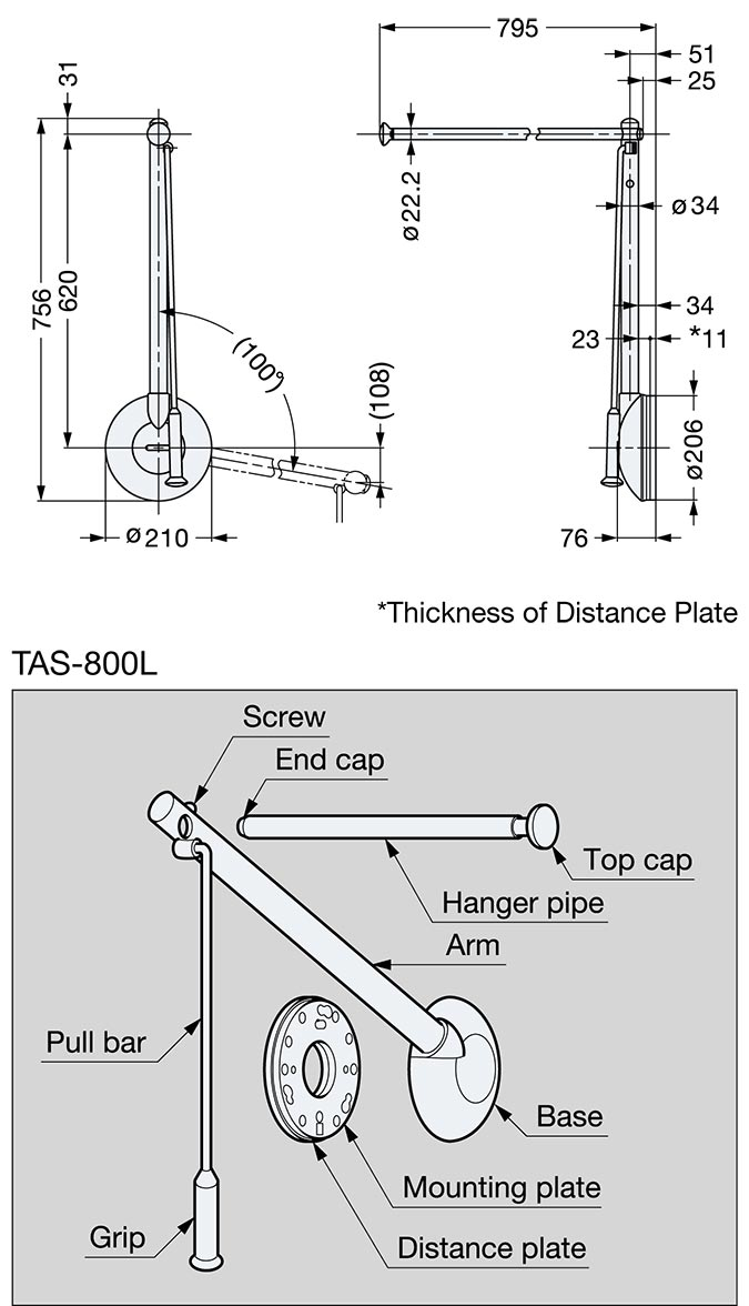 Tas 800l G Tallman Single Type Pull Down Closet Rod Left Hand In