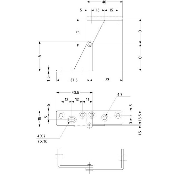 Sugatsune WP-3L OVERLAY DOOR PIVOT HINGE Line Drawing