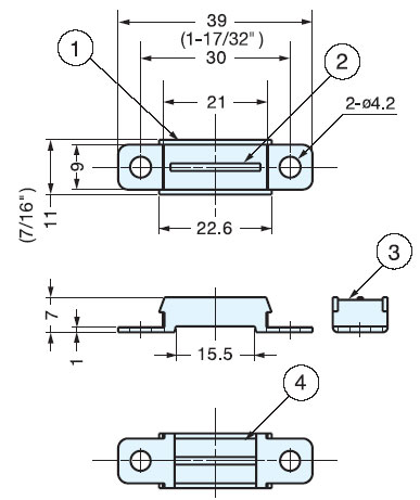 Sugatsune MC-YN005 STAINLESS STEEL MAGNETIC CATCH Line Drawing
