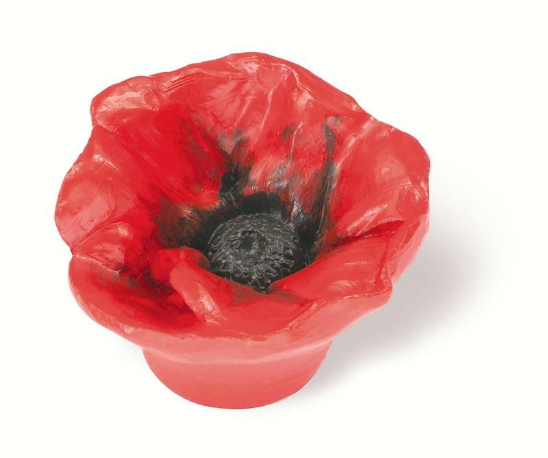 101-102 Siro Designs Flowers - 50mm Knob in Red Poppy