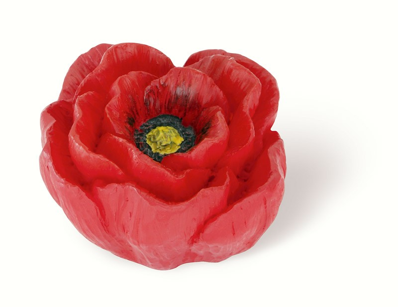 101-104 Siro Designs Flowers - 50mm Knob in Red/Yellow Poppy