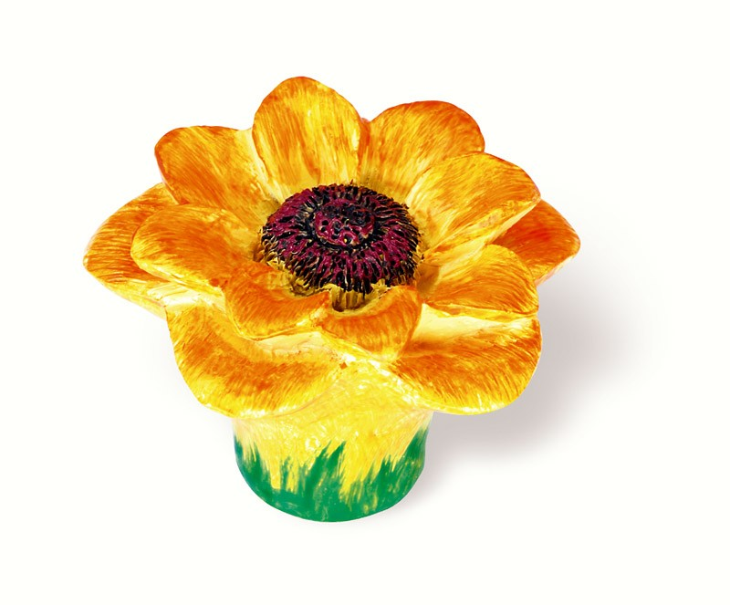 101-106 Siro Designs Flowers - 50mm Knob in Yellow/Orange Sunflower
