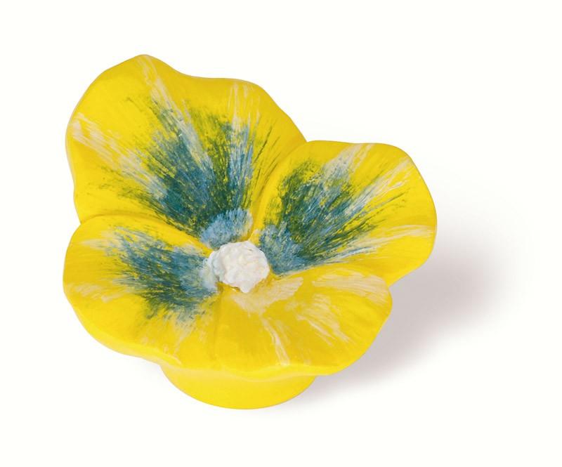 101-114 Siro Designs Flowers - 50mm Knob in Yellow Pansey