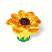 101-106 Siro Designs Flowers - 50mm Knob in Yellow/Orange Sunflower