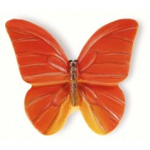 72-114 Siro Designs Butterflies - 44mm Knob in Red-Orange With Yellow