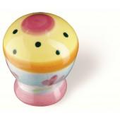 81-112 Siro Designs Botanico - 27mm Knob in Pink Ctr/Yellow/Dots & Stripes