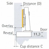 073915 Clip-On 95 Degree Concealed Hinge for 32mm Profile Doors – Full Overlay / Press-In